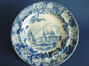 Rare Don Pottery 'Named Italian Views - Obelisk at Catania' Pearlware Dinner Plate c1820